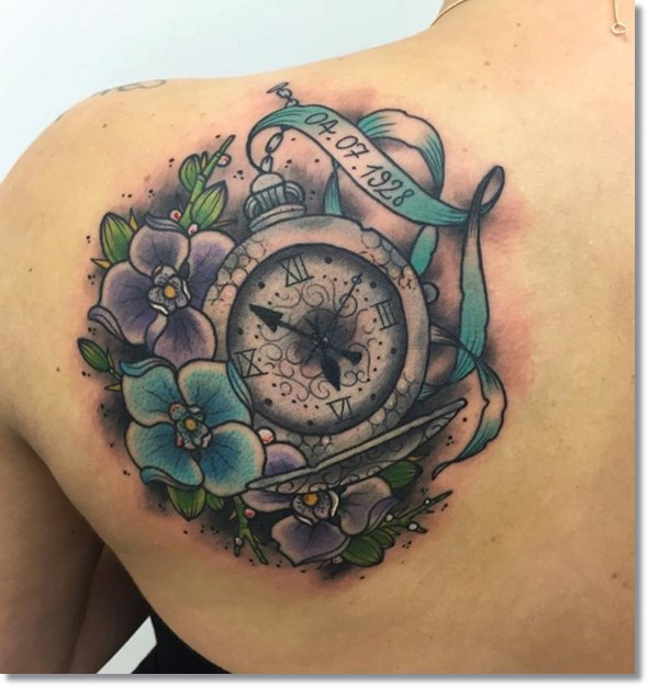 pocket watch tattoo on back