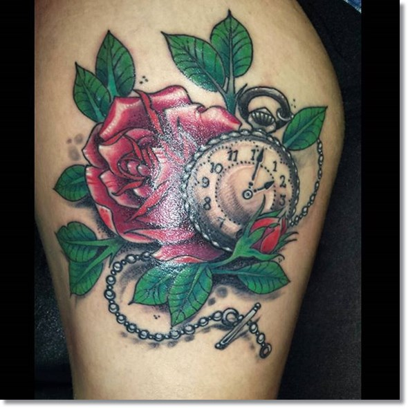 Red Rose And Pocket Watch Tattoos