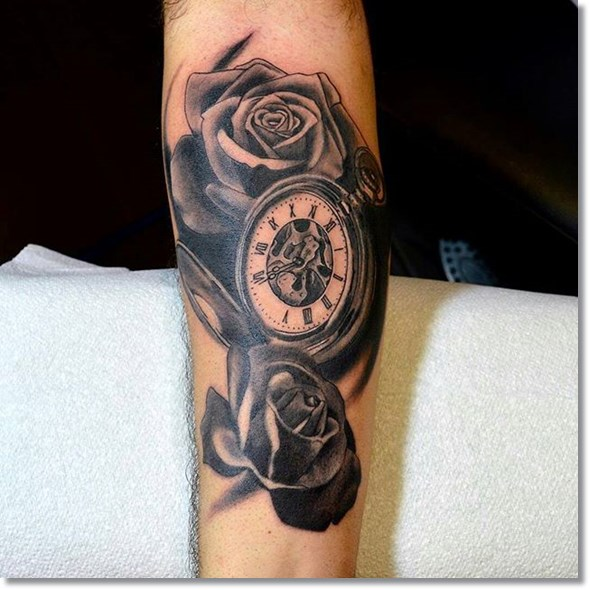 rose and pocket watch tattoo black and grey