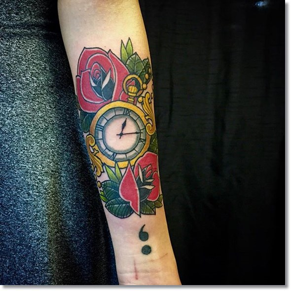 rose and pocket watch tattoo meaning