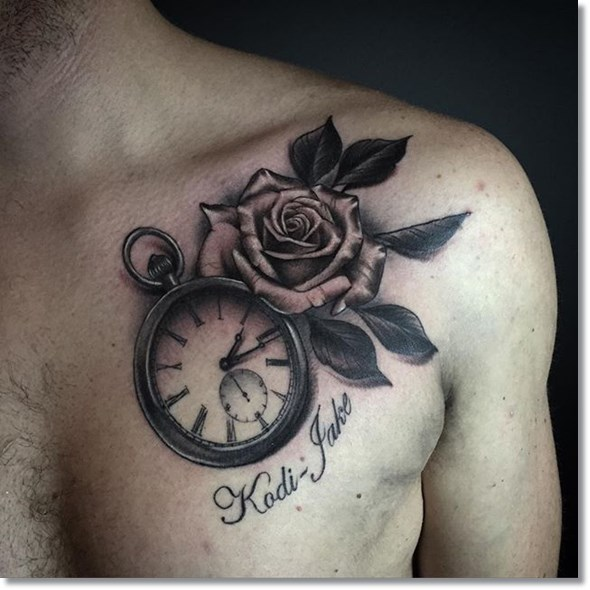 rose and pocket watch tattoo placement on chest