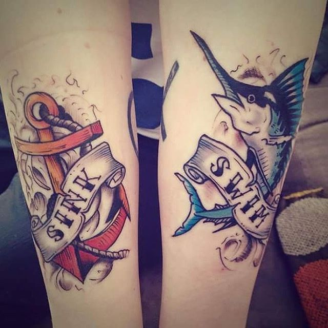 sword fish and anchor tattoos forearm