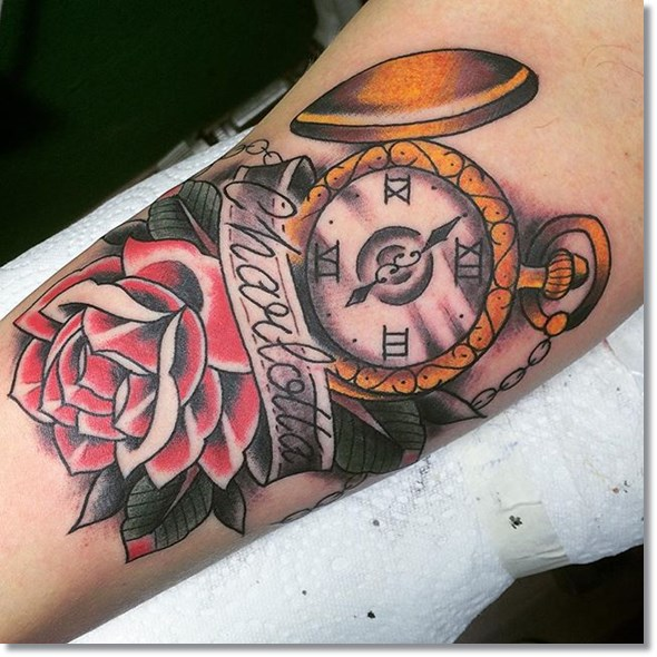 vintage pocket watch tattoo