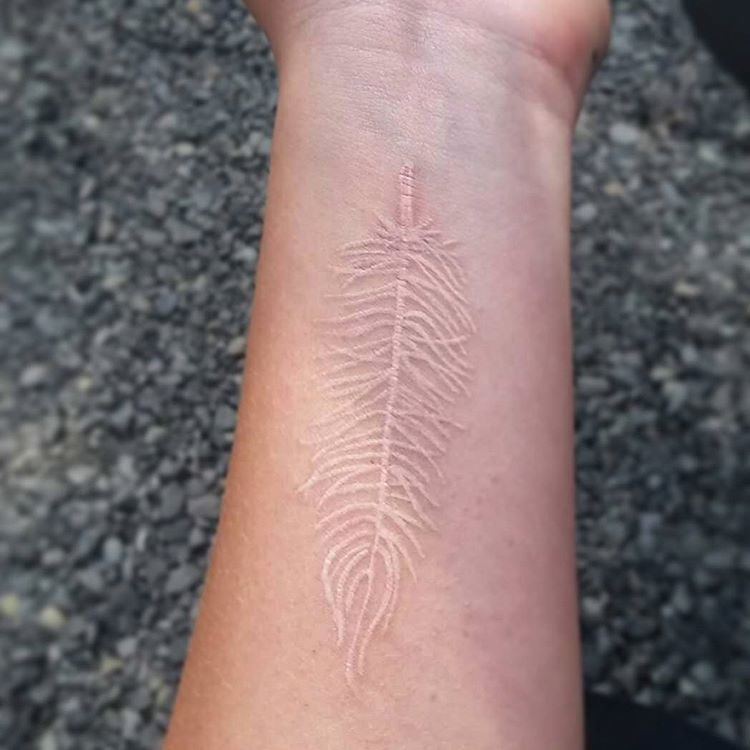 40 beautiful white ink tattoos you will love for White ink tattoo dark skin