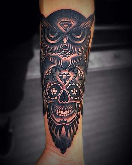 best sugar skull and owl tattoo designs