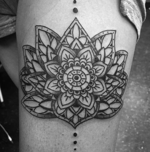 black and grey beautiful detailed lotus flower tattoo