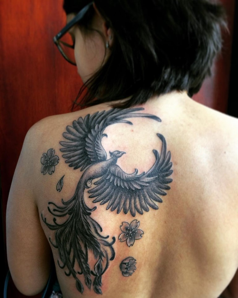 bold-phoenix-tattoo-with-sakura-flowers