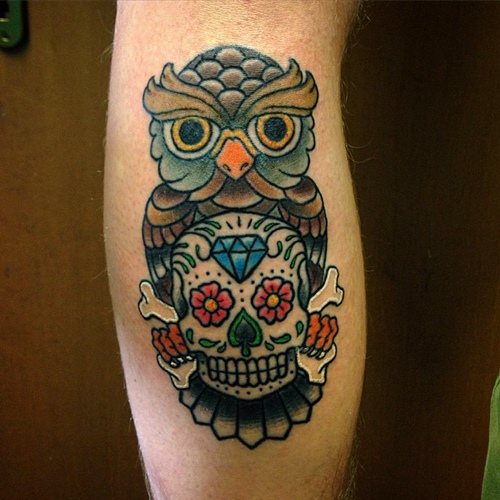 bright bold sugar skull owl tattoos