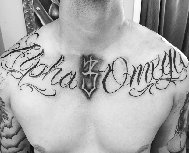collar bone alpha omega tattoos for guys