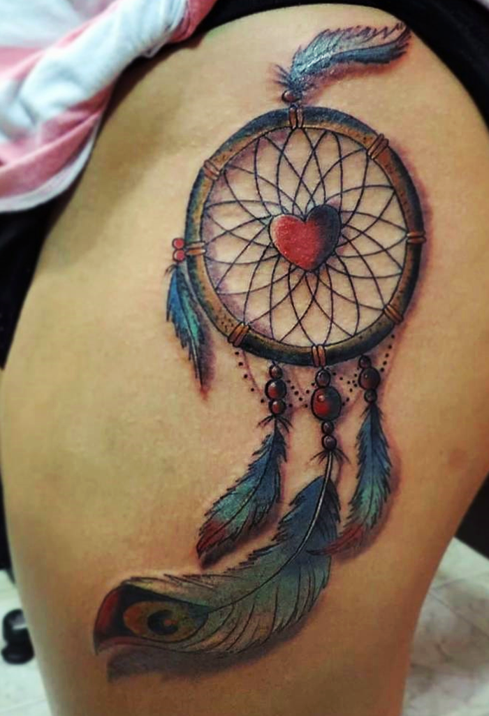 25 colorful dream catcher tattoo that will be uniquely your own. Black Bedroom Furniture Sets. Home Design Ideas