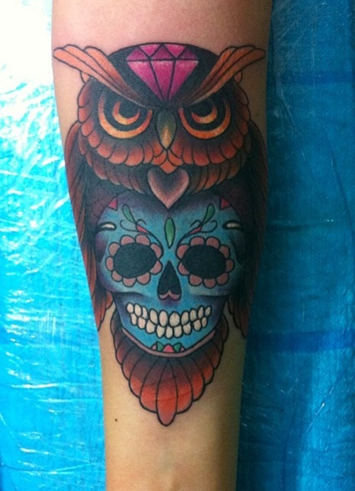 colorfull sugar skull owl tattoo on sleeve