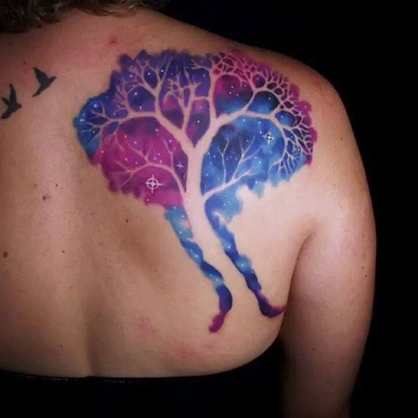 colorfull tree tattoo on back