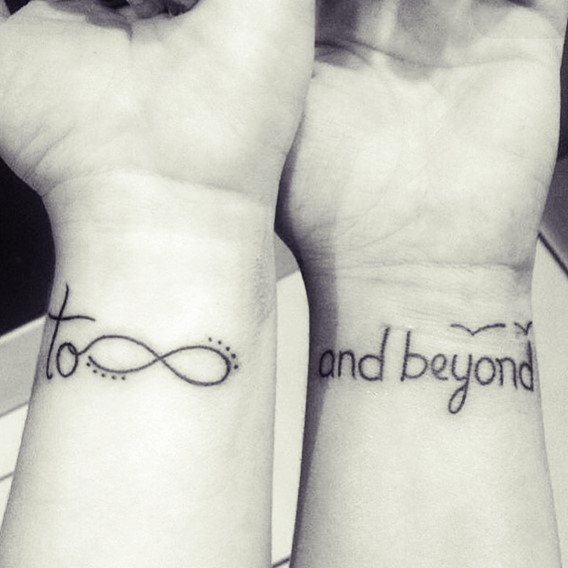 cute to infinity and beyond sisters tattoos