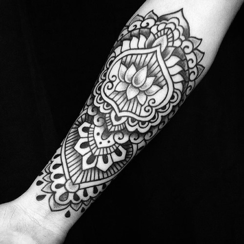 dot work lotus flower tattoo sleeve