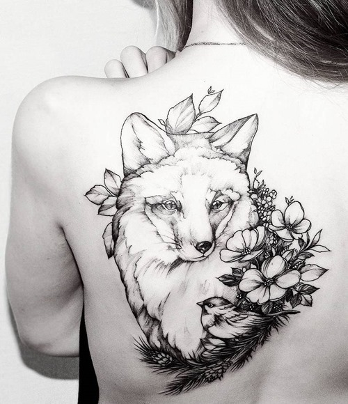 feminine-fox-tattoos-for-women-on-back