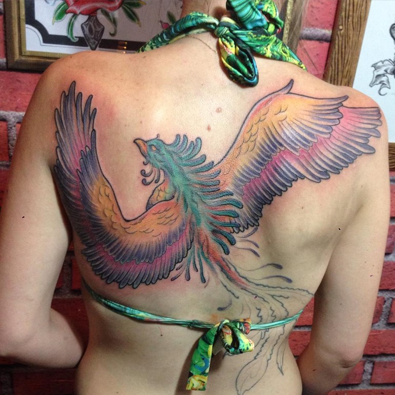 freehand-color-phoenix-tattoo-placement-on-back