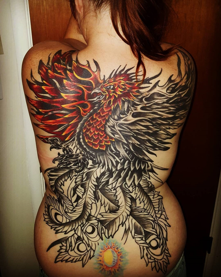 full-back-red-black-phoenix-tattoo-designs