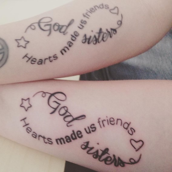 infinity words sister tattoos