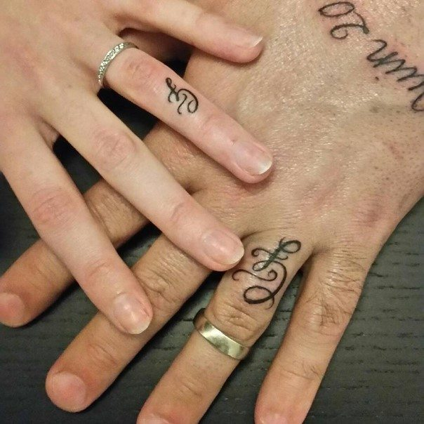 initial wedding ring tattoos