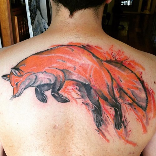 jumping-red-fox-hunting-tattoo-designs-on-upper-back