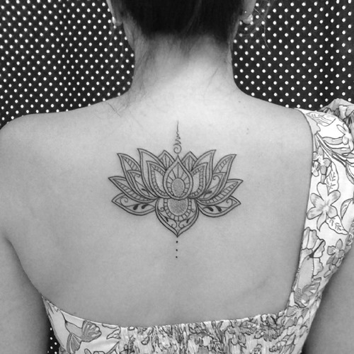 lotus flower tattoo design on back