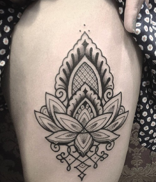 lotus flower tattoo thigh