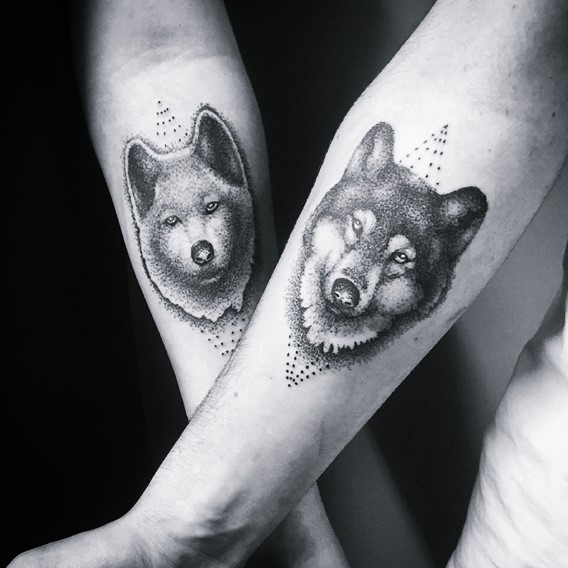 matching his and hers wolf tattoos