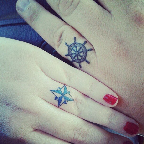 nautical wedding ring tattoo ideas