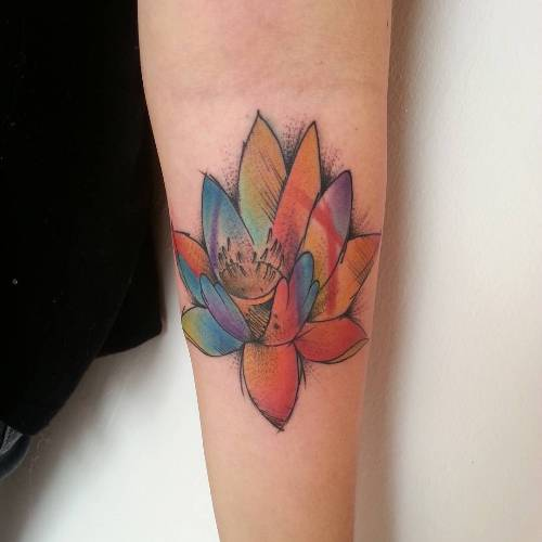 neo traditional lotus tattoo