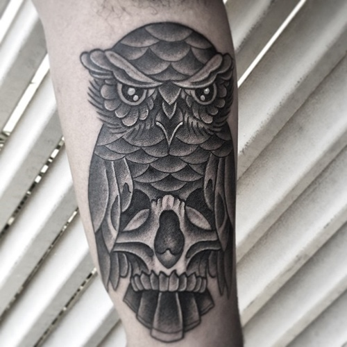neo traditional skull inside owl tattoo