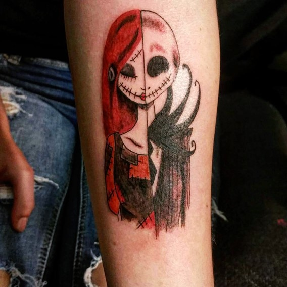 nightmare before christmas jack and sally tattoos designs