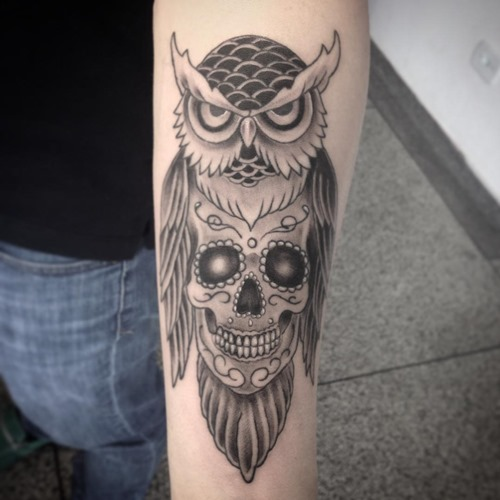 owl and candy skull tattoo