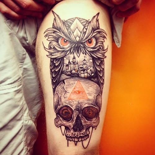 owl-and-skull tattoo-10