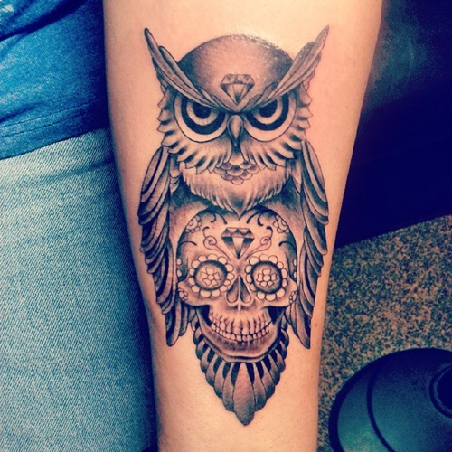 owl-and-skull tattoo-16