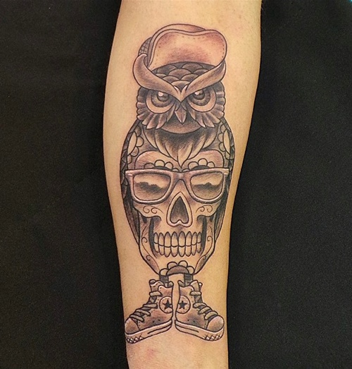 owl-and-skull tattoo-25