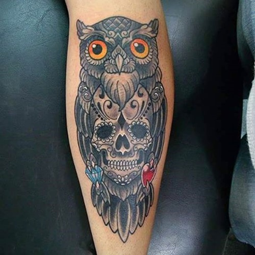 owl-and-skull tattoo-34