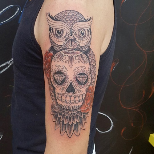 owl-and-skull tattoo-36