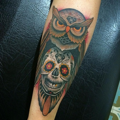 owl and skull tattoo diamond