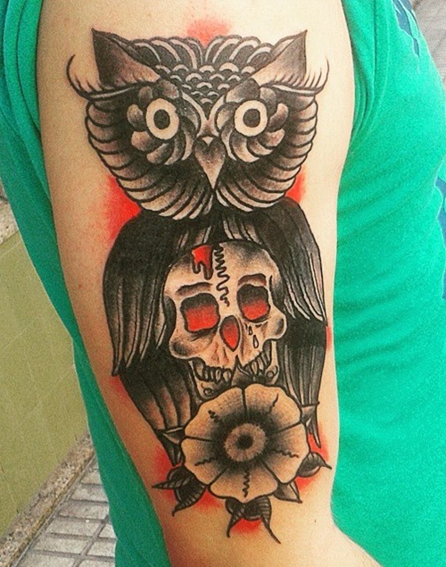 owl and skull tattoo with flower