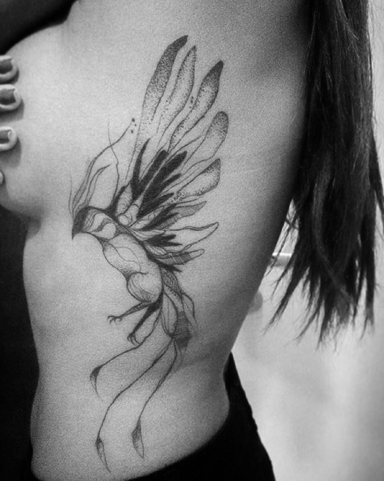 phoenix bird tattoo on ribs