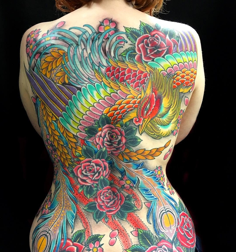 phoenix-tattoo-with-flower-full-back