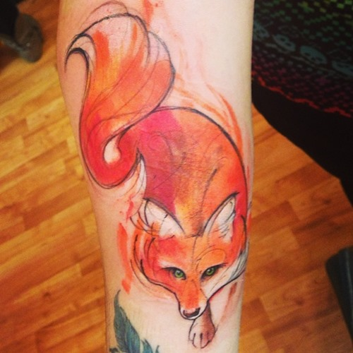 red-fox-watercolor-tattoo-designs-on-arm