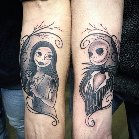 simple nightmare before christmas couple tattoos