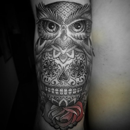 skull and owl tattoo forearm