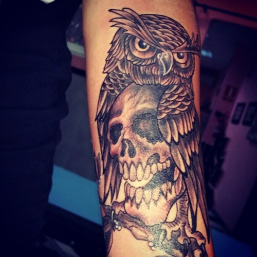 skull inside owl tattoo ideas