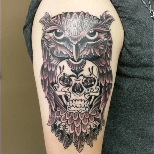 skull inside owl tattoo meaning