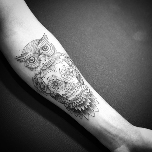 sugar skull and owl tattoo for men