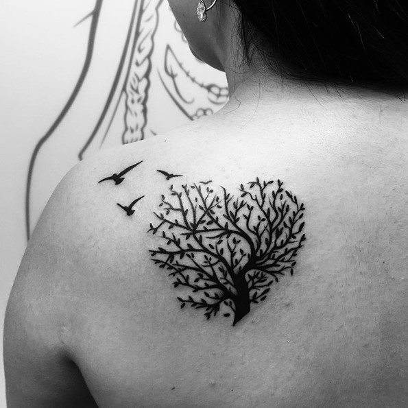 Tree Tattoo With Bird On Back