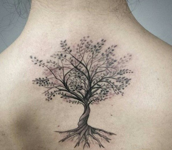 45 insanely gorgeous tree tattoos on back. Black Bedroom Furniture Sets. Home Design Ideas
