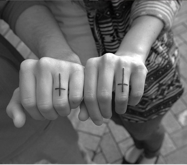 wedding band matching cross tattoos